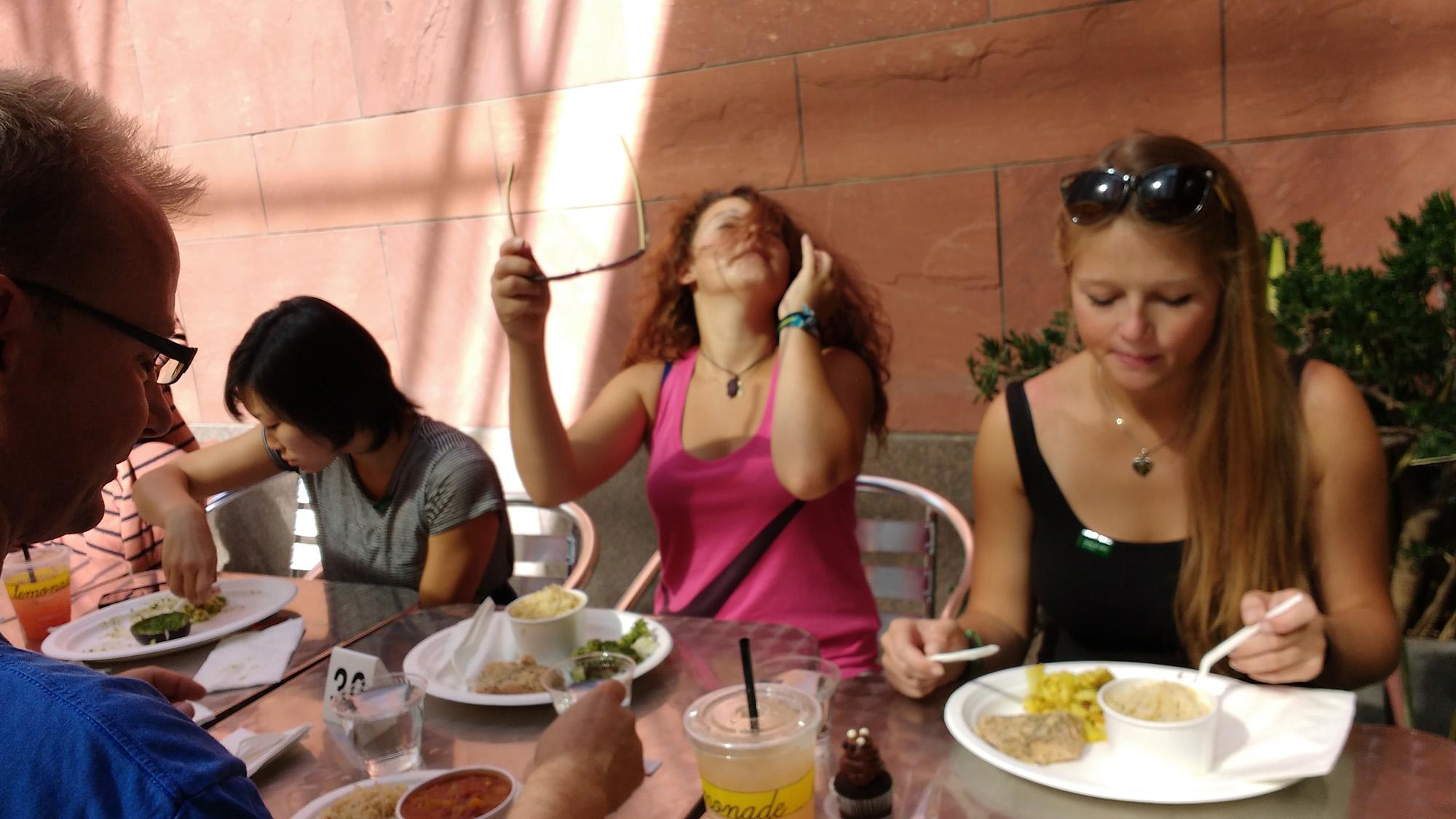 Ben, Zeinab & Stefanie eating lunch.
