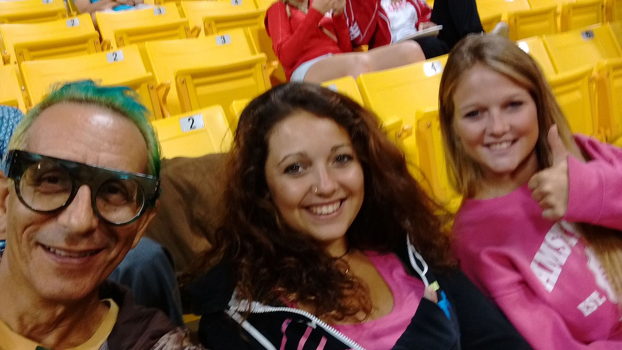 Glenn, Zeinab & Stefanie in the stands at The Pyramid in Long Beach, CA