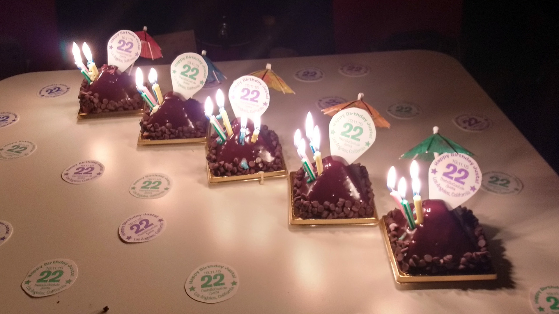 Chocolate Pyramids decorated with parasols, candles, and 22nd birthday tags
