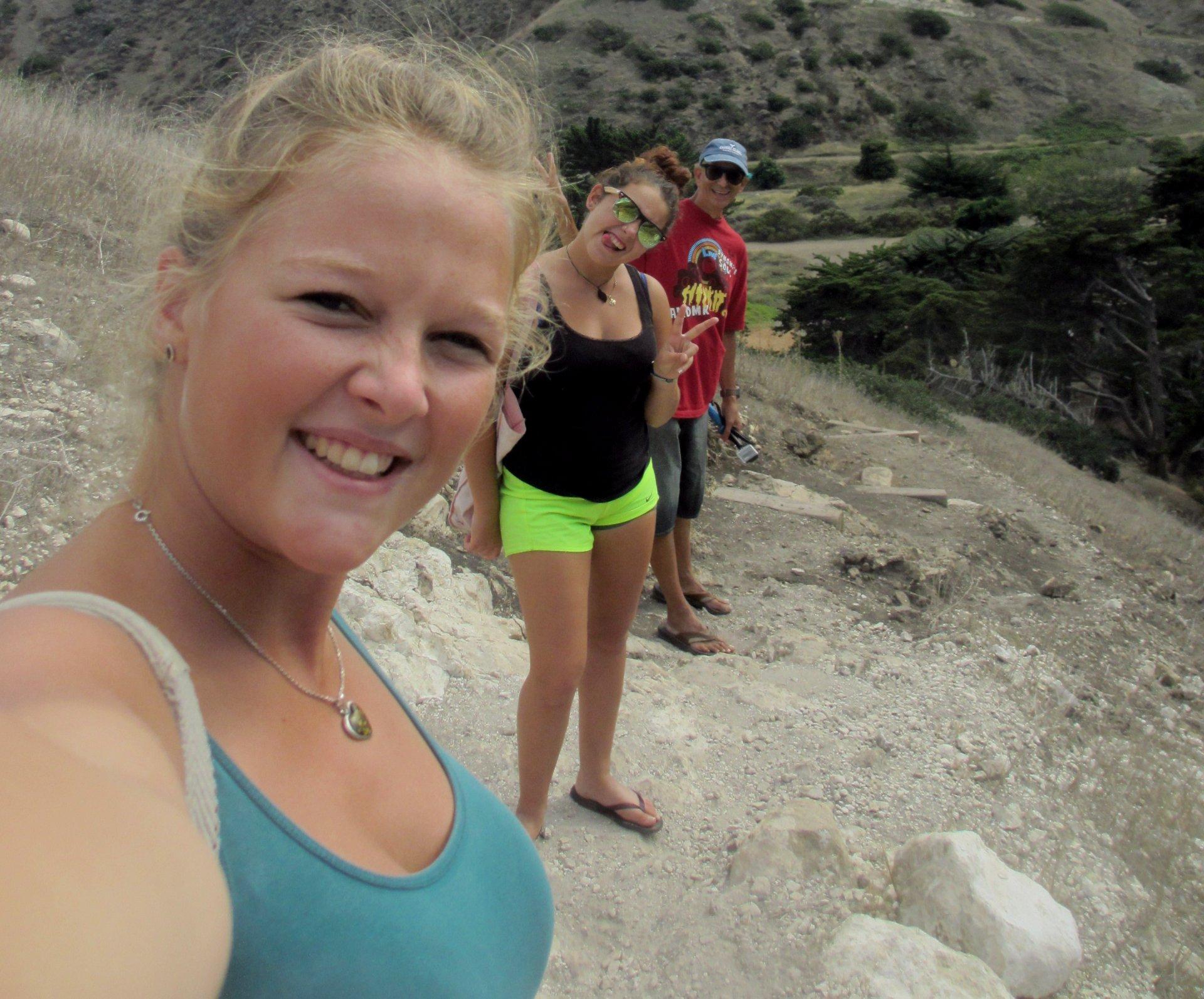 Stefanie Kuisle, Zeinab Greif, Glenn Zucman, hiking on Santa Cruz Island, Santa Barbara Channel, California Channel Islands