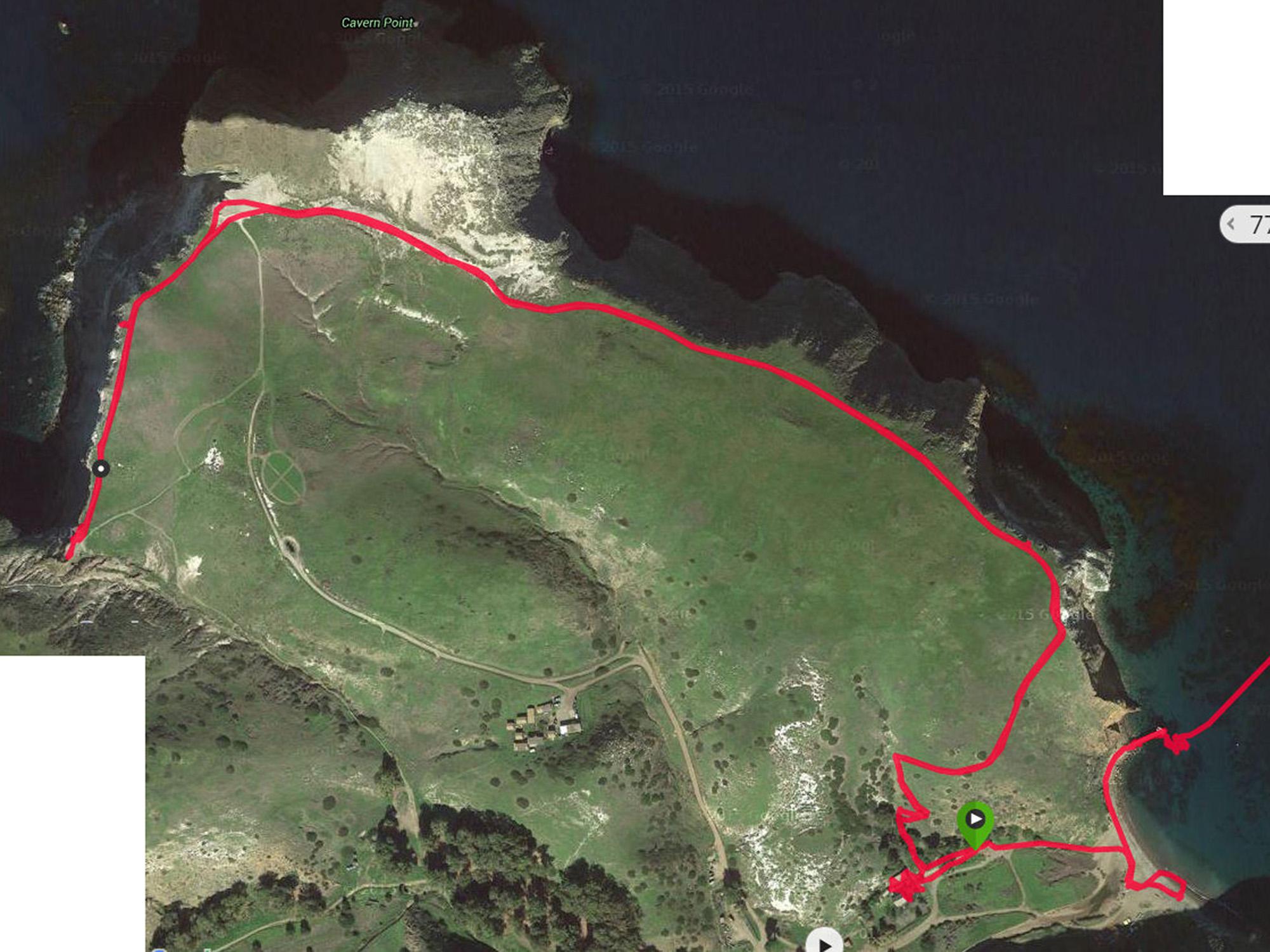 detail view of GPS track of 3 mile hike on Santa Cruz Island