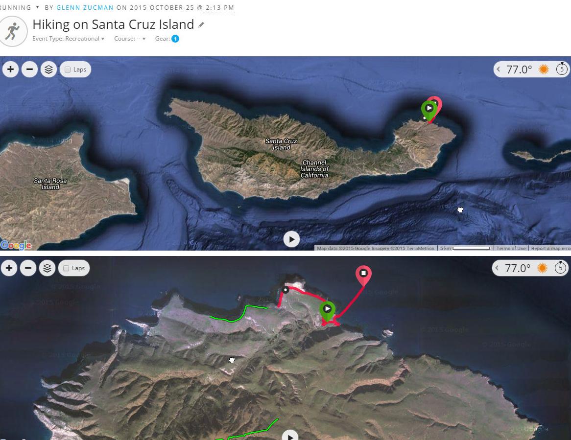 Photo map of Santa Cruz Island showing GPS track of a 3 mile island hike