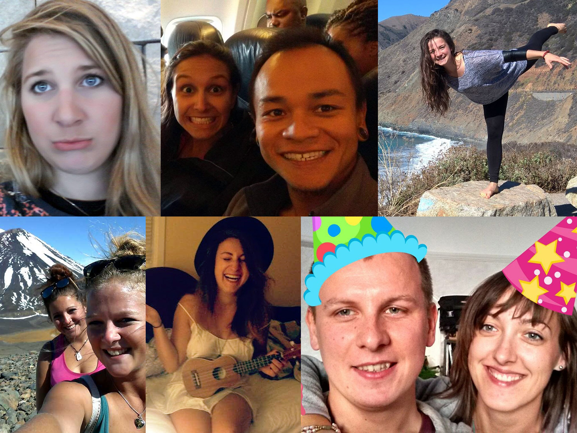 a montage of 6 WhatsApp images showing travelers in different places