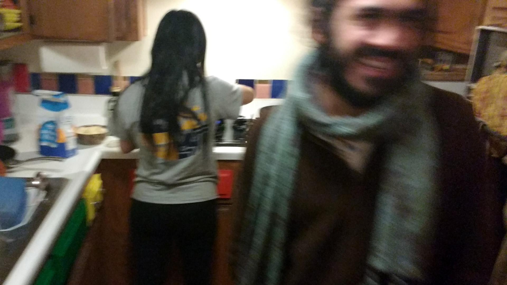 Joan & Darich in the kitchen
