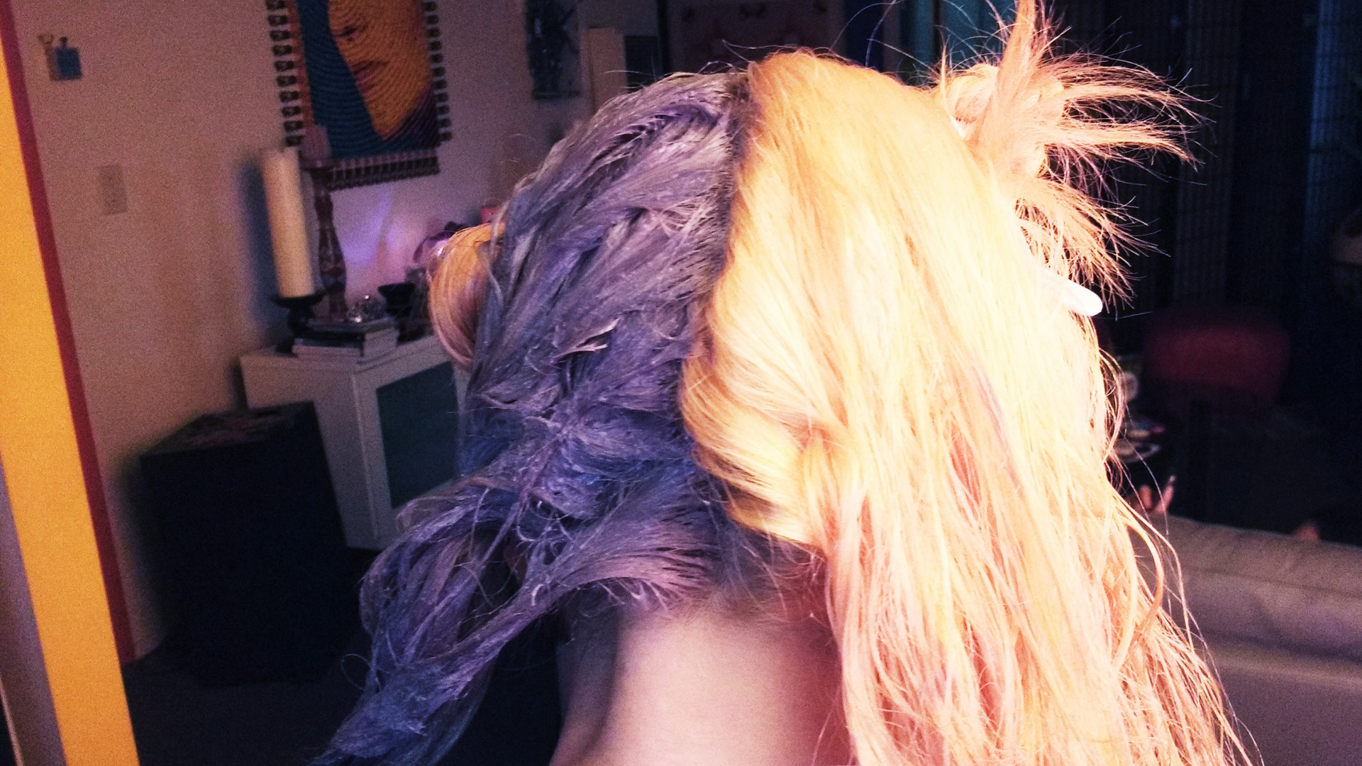 The back of Maya's head, sectioned in half and one half with sliver dye and one half still blonde