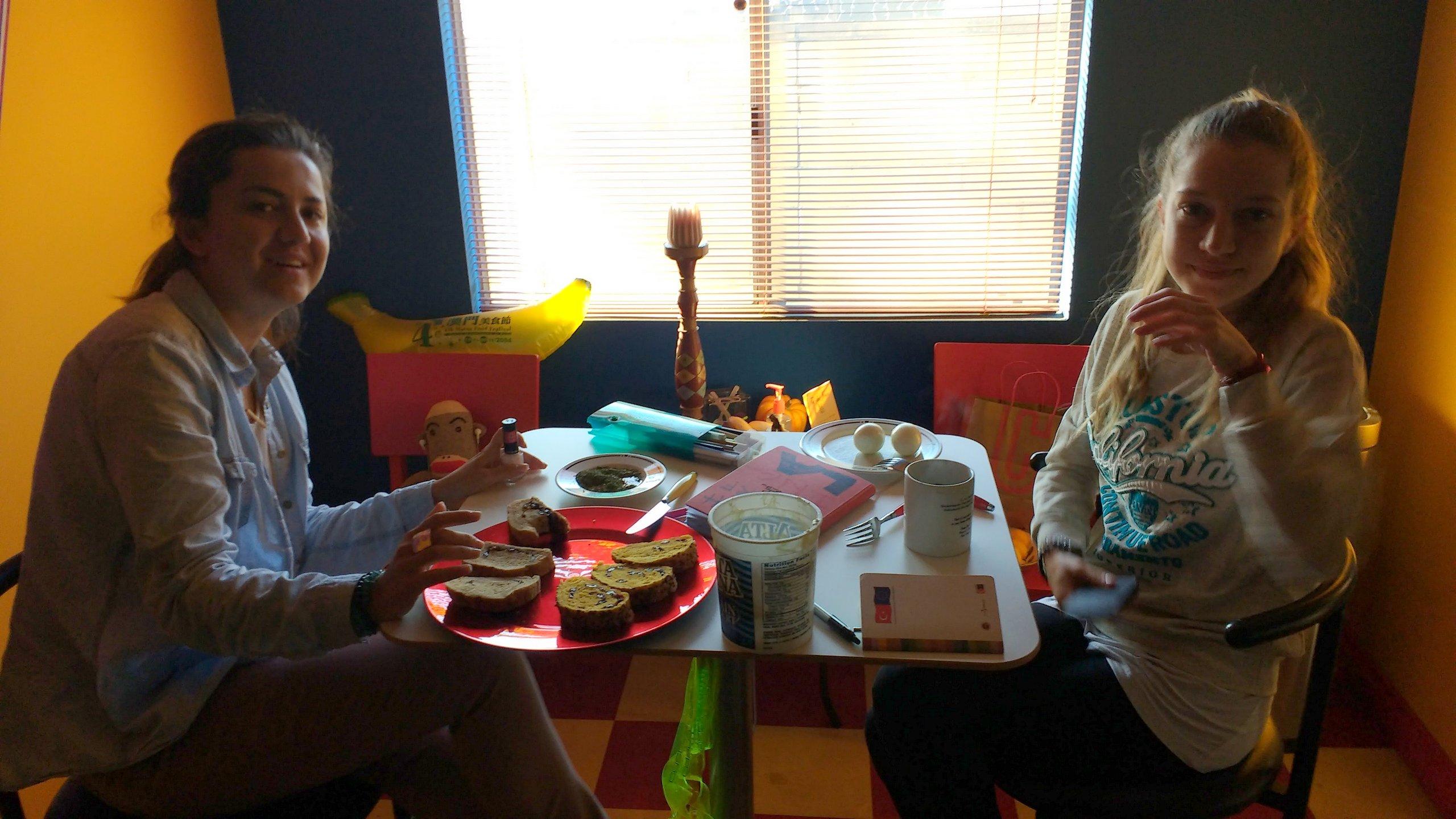 Gizem & Pinar having breakfast in the morning