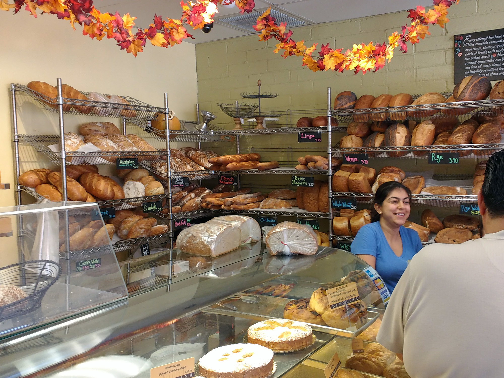 A rich assortment of German and other European Breads behind the counter at Berolina Bakery in Glendale, CA
