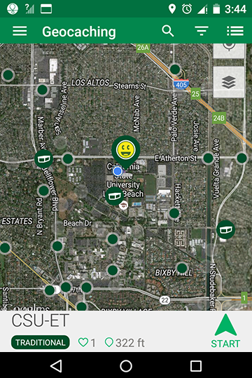 screen cap of the Geocaching App showing the location of various caches at or near the CSULB campus