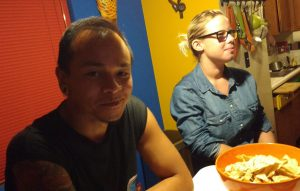 Fabio and Suus sitting at a table