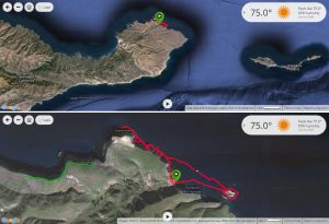 map of Santa Cruz with red line showing kayak path