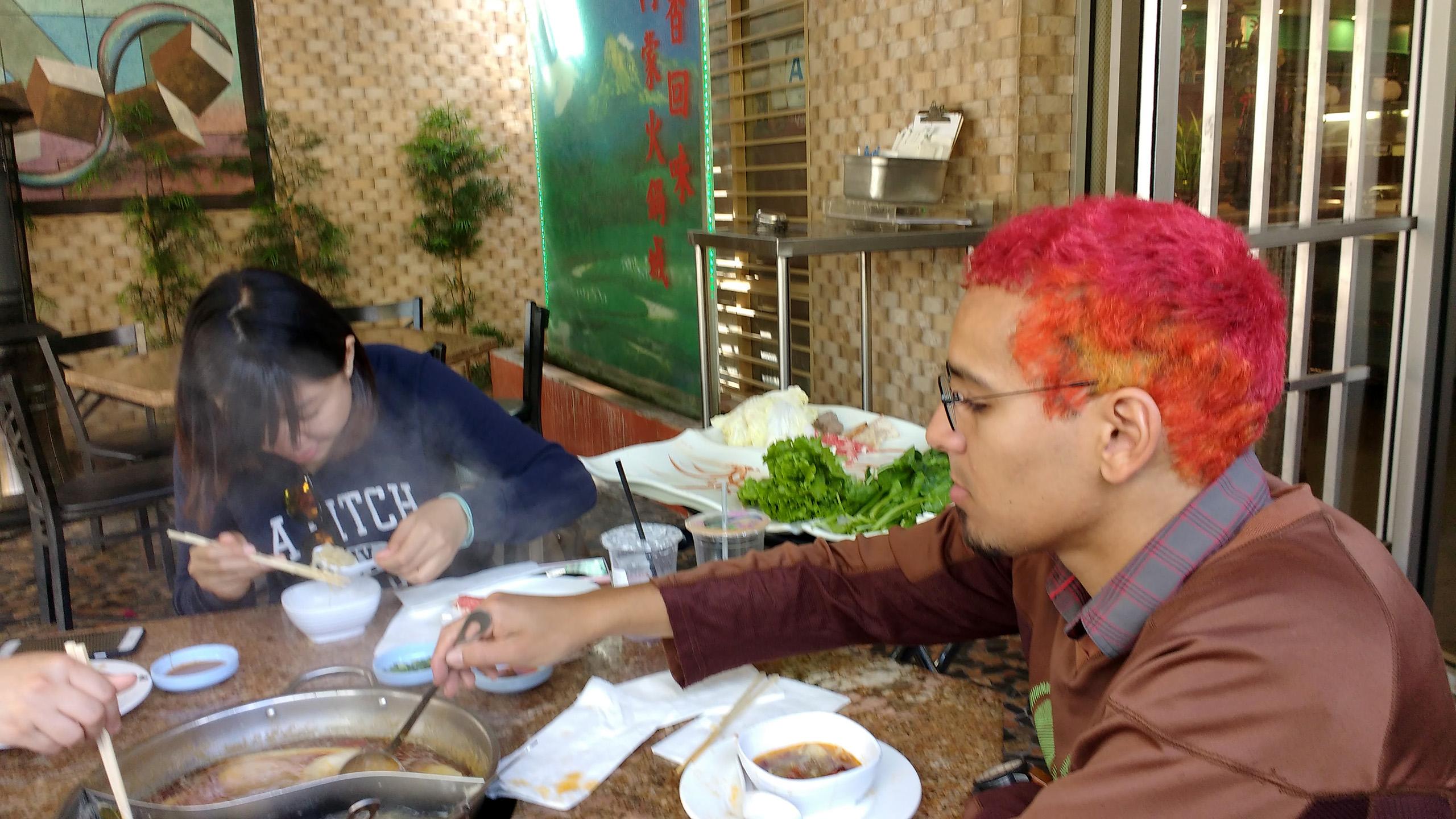Ada and Samuel eating at Hot Pot City in New Taipei (San Gabriel, CA)